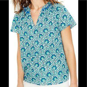 Boden NESSA floral vine print top blouse pom pom